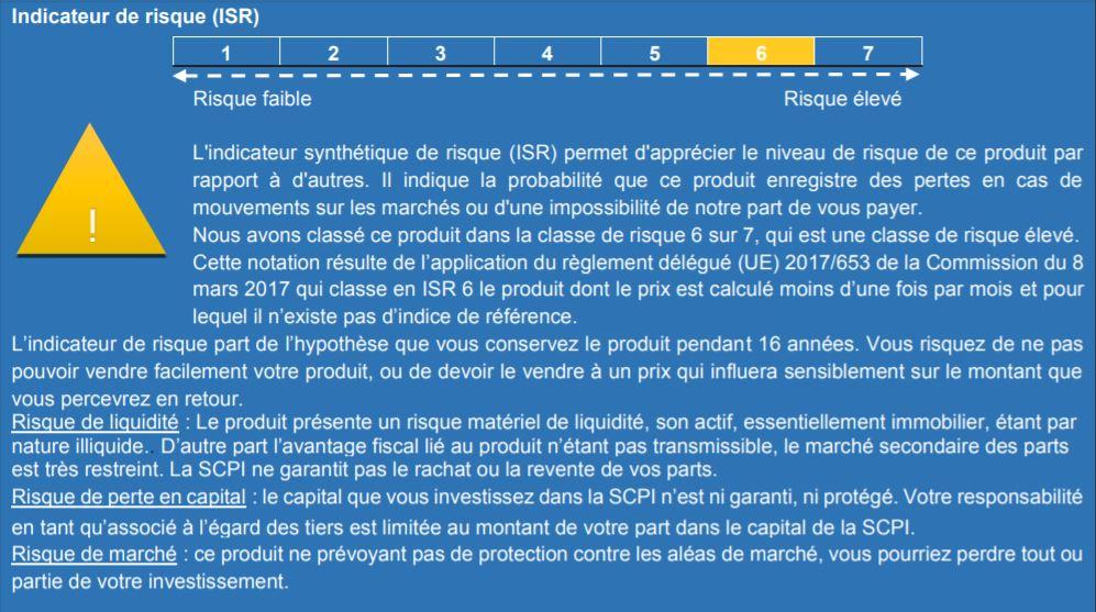 SCPI urban prestigimmo 4 indicateur de risque
